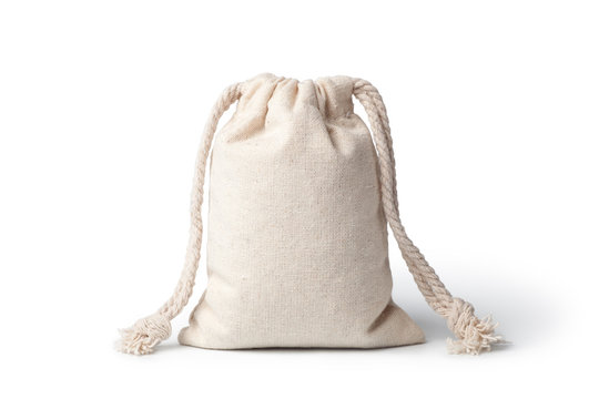 Empty linen bag isolated on white background.