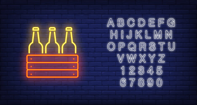 Neon icon of box with bottles