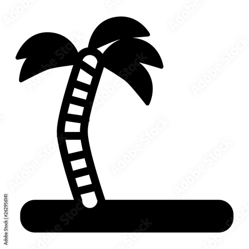 Palm tree on the island solid icon  Coconut tree vector illustration