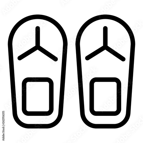 555999a57 Flip flops line icon. Beach slippers vector illustration isolated on white.  Footwear outline style design