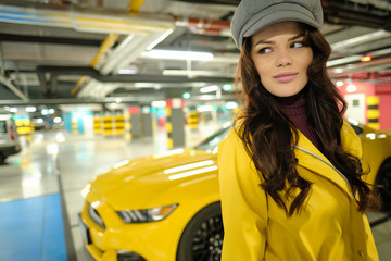 Driver Woman Next To The yellow sport Car