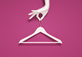 Minimal Fashion stylist or buyer concept, nothing to wear, white cloth hanger and woman hand, fashion template banner, 3d rendering