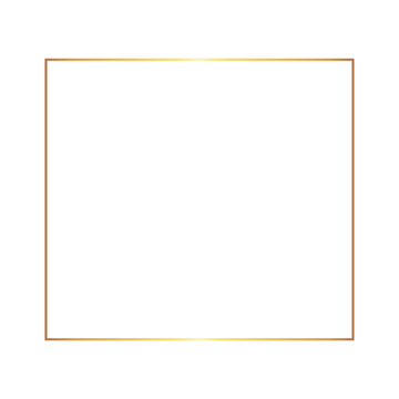 Golden thin square frame on the white background. Perfect design for headline, logo and sale banner. Vector