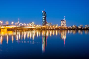 Vienna skyline by night