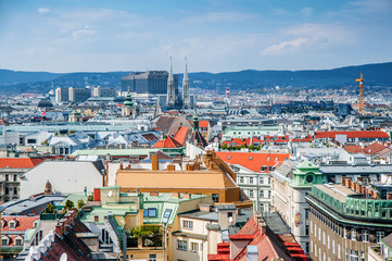 famous view of the city from the tower of the church of St. Stephen. Vienna, Austria