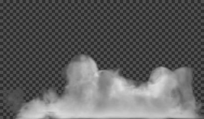 Transparent special effect stands out with fog or smoke. White cloud vector, fog or smog Fotoväggar
