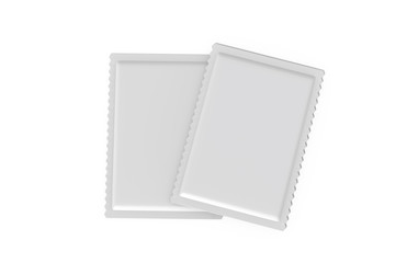 White blank sachet packaging for food, cosmetics and medicines, mock up template on isolated white background, ready for design presentation 3d illustration