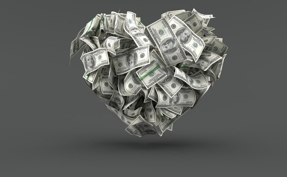 Dollar currency in heart shape