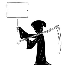 Cartoon stick figure drawing conceptual illustration of grim reaper with scythe and in black hood holding empty sign for your text.