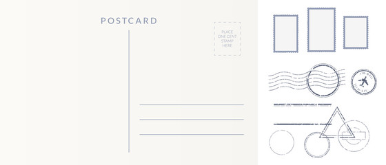 Postal elements set: empty postcard back, postage stamps and cancel marks imprints. Wall mural