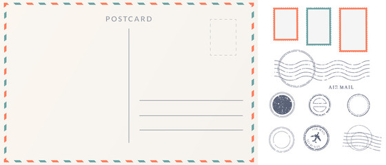 Elements for empty postcard back. Postage stamps and imprints. Travel card design set.