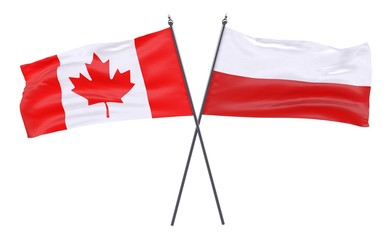 Canada and Poland, two crossed flags isolated on white background. 3d image
