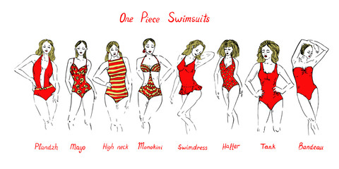Portrait of blonde girls in red plandzh, mayo, high neck, monokini, swimdress, halter, tank, bandeau, one piece swimsuits set with inscription, hand drawn outline doodle, vector illustration