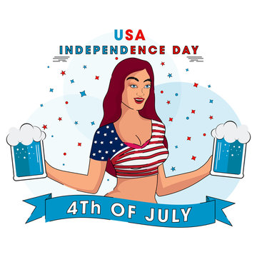 USA Independence Day template or poster design with young girl in American flag colors dress holding beer mug for 4th of July celebration concept.