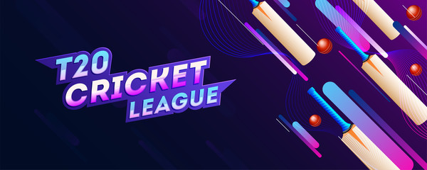 T20 Cricket League header or banner design with cricket ball and bats illustration on purple abstract background for advertising concept.