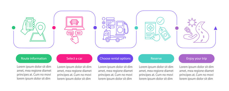 Car rental service vector infographic template
