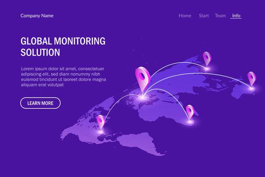 Global monitoring system. Global communications. Virtual world map. Modern vector illustration isometric style.