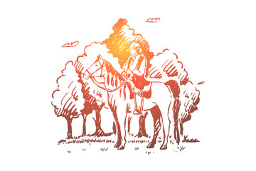 Young gypsy sitting on horseback, roma riding horse in forest, nomad in saddle, free nation, faceless horseman in woods