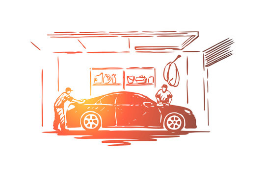 Auto care station workers, maintenance employee cleaning transport vehicle, polishing process, coworking