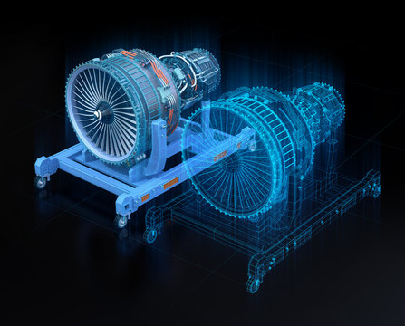 Wireframe rendering of turbojet engine and mirrored physical body on black background. Digital twin concept. 3D rendering image.