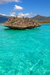 Crystal rock in the turquoise waters of the Indian Ocean near Benitiers Island Mauritius