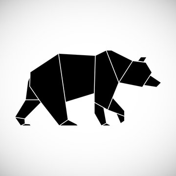 Black bear geometric lines silhouette isolated on white background vintage vector design element. Contour for tattoo, logo, emblem and design element.