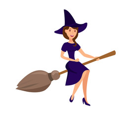 Witch Flying on Broomstick Vector Illustration
