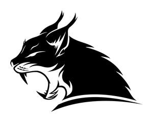 Lynx black sign mascot on a white background.