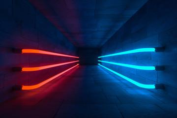 3d rendering, glowing magic lines in anbanoned room, dark background