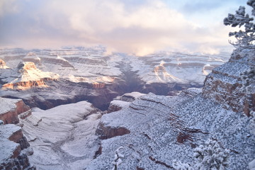 Grand Canyon, AZ., U.S.A. Jan. 1, 2019. Majestic powder snow mantle for the Grand Canyon sun rise New Year's Day 2019.