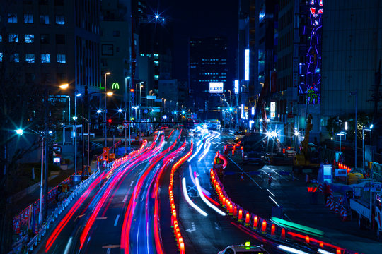 Night time lapse urban street at the business town in Tokyo