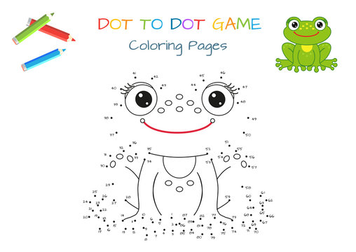 Funny little frog. Copy the picture. Coloring book. Educational game for children. Cartoon vector illustration