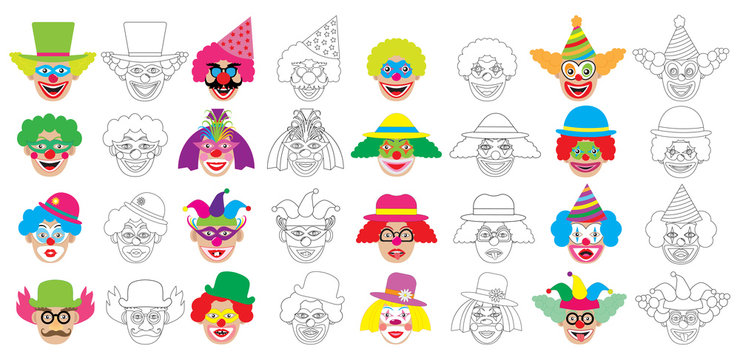 Set of faces of clown, coloring book. Vector illustration.
