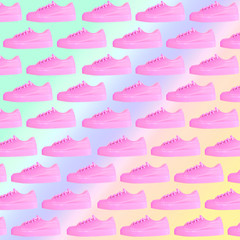 Modern art collage of fashionable pink sneakers. Awesome pattern on rainbow gradient background