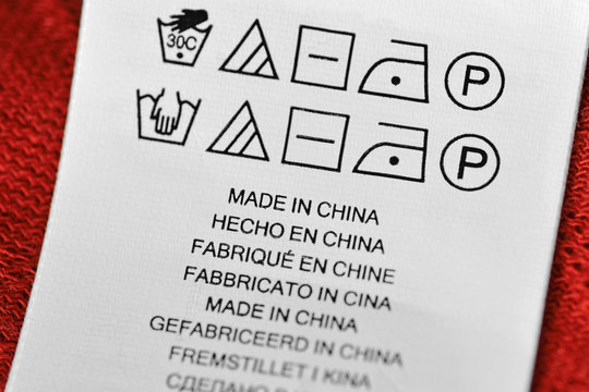 Made in China label with washing instructions
