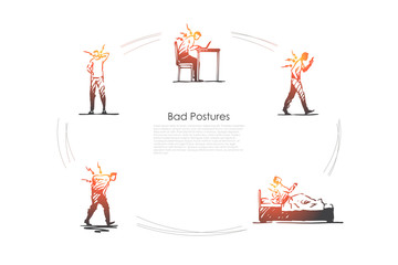 Bad postures - man sitting, standing and lying in bad postures with back pain vector concept set