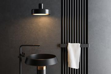 Sink close up in black bathroom interior