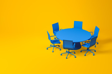 Set of blue conference room furniture on yellow Fototapete