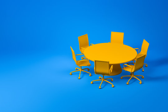 Set of yellow conference room furniture on blue