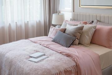 pink color tone beatiful bedroom