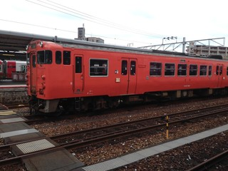 Red Train at the Station in Japan