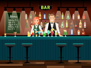 Male and female bartenders vector background. Bar vector illustration