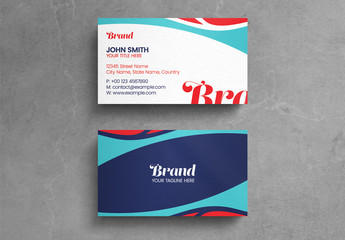 Abstract Business Card Layout with Blue and Red Elements