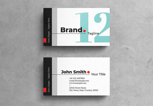 Bold Agency Business Card Template On White Background