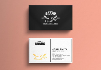 Bakery Business Card Layout with Illustrative Graphic