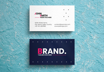 Blue And White Business Card Layout with Pink Accents