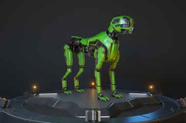 Green robot dog stands on a charging dock