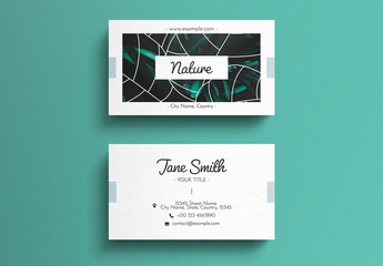 Business Card Layout with Graphic Natural Overlays