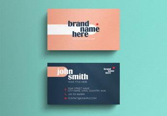 Coral and Dark Blue Business Card Layout with Typographic Accents