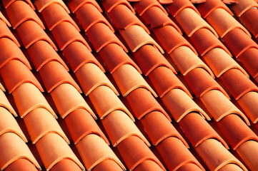 Close view of famous red rood tiles in Dubrovnik, Croatia